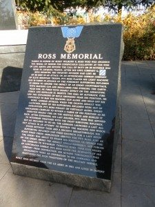 Wilburn K. Ross Memorial stands in Ross Plaza Park in DuPont, Washington.