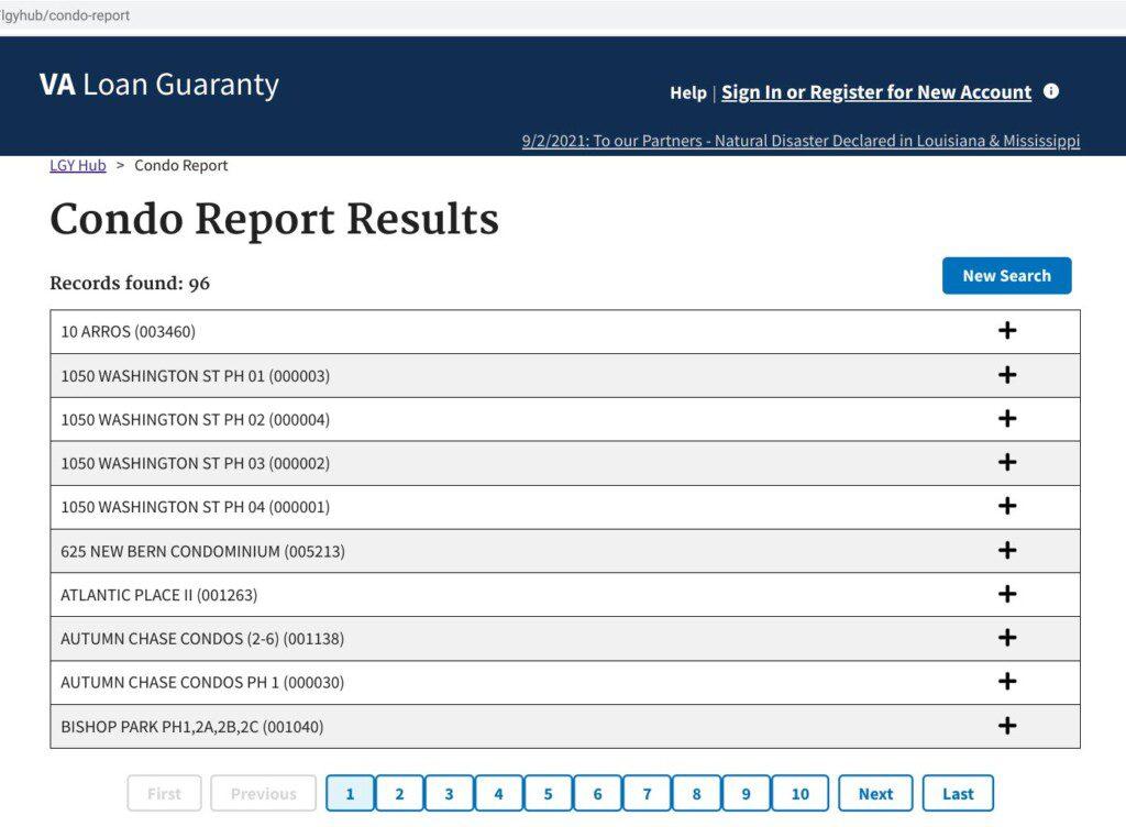 VA condo lookup results