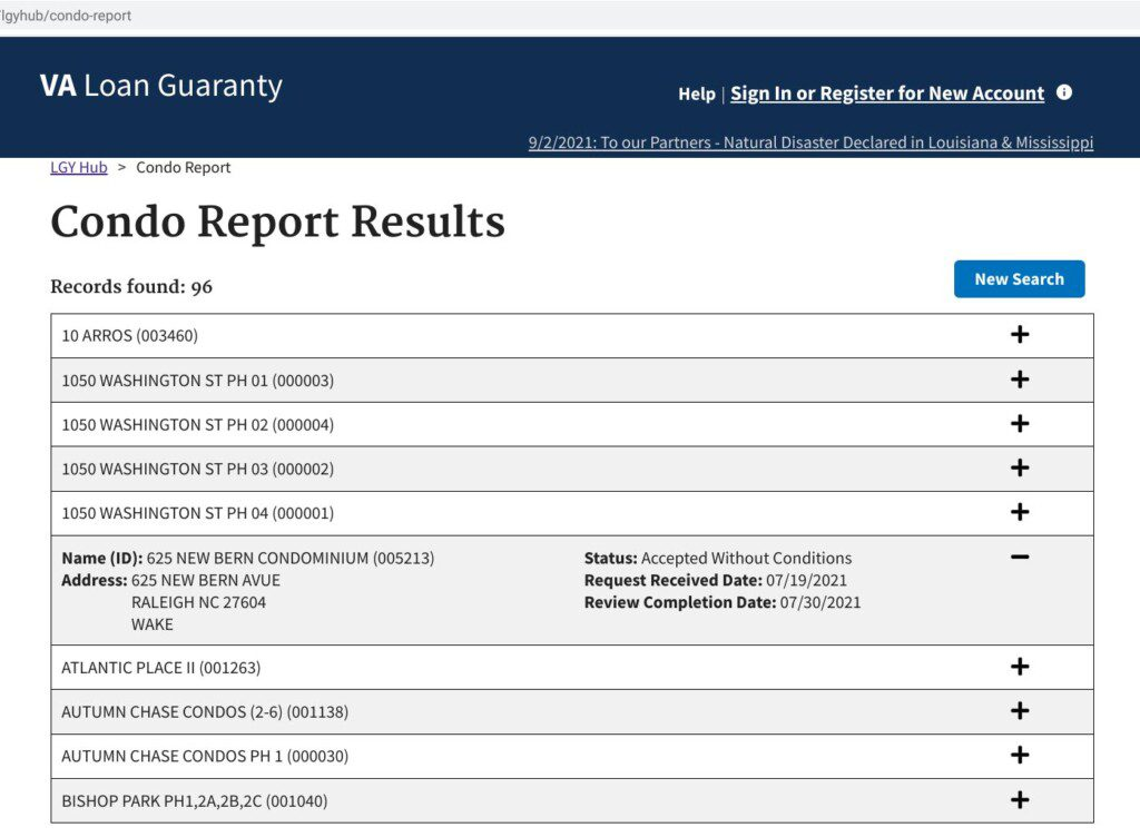 VA condo lookup results additional
